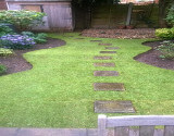 Edged Lawn with New Stepping Stones